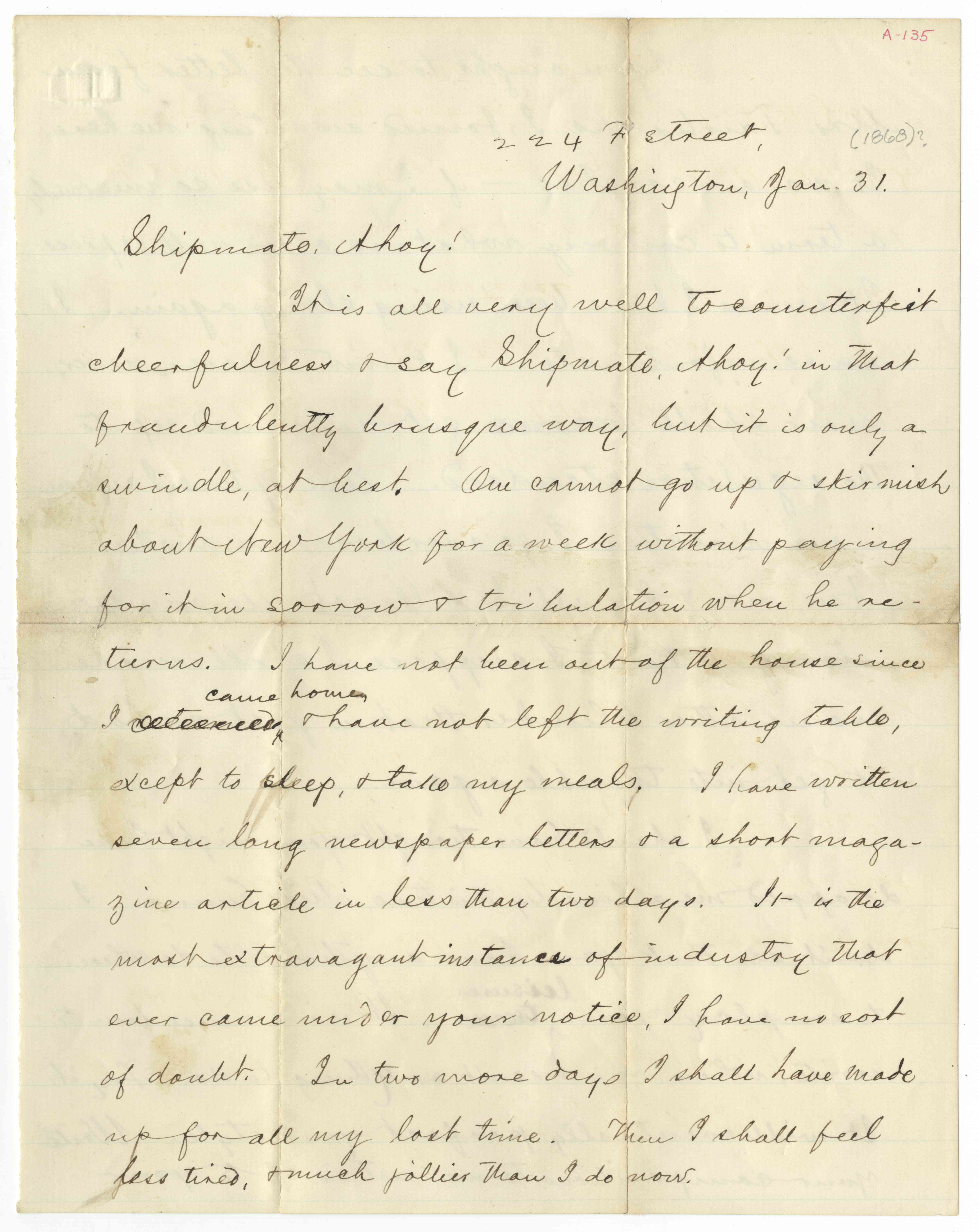 """Twain Asks His Young """"Quaker City"""" Shipmate & Favorite, Emma Beach, For Help With His Articles About the Voyage"""