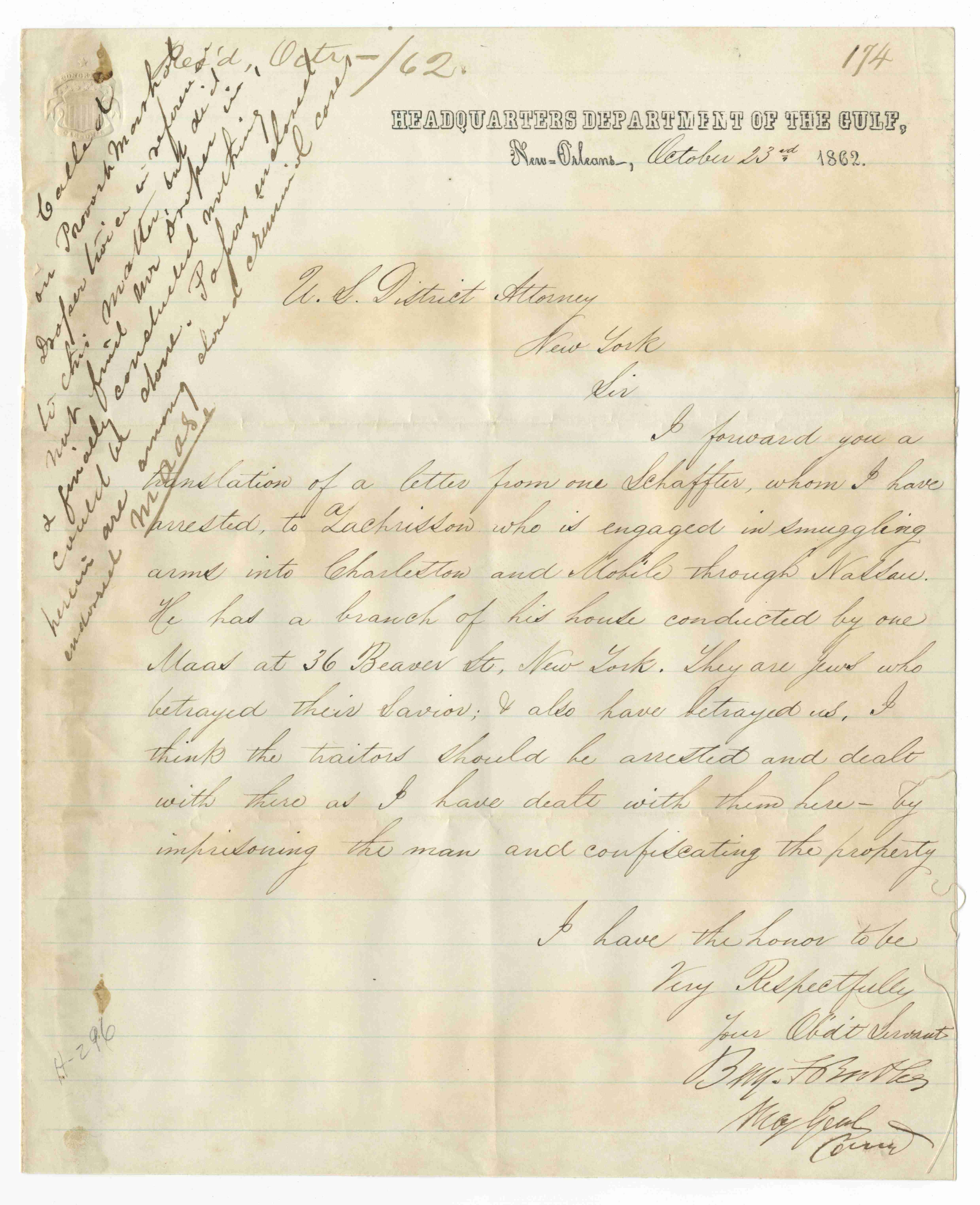 American Civil War Union General George B. McClellan's Antisemitic Letter