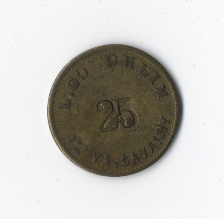 Civil War 25-Cent Sutler Token From L. Goldheim of J.E.B Stuart's 1st Virginia Cavalry