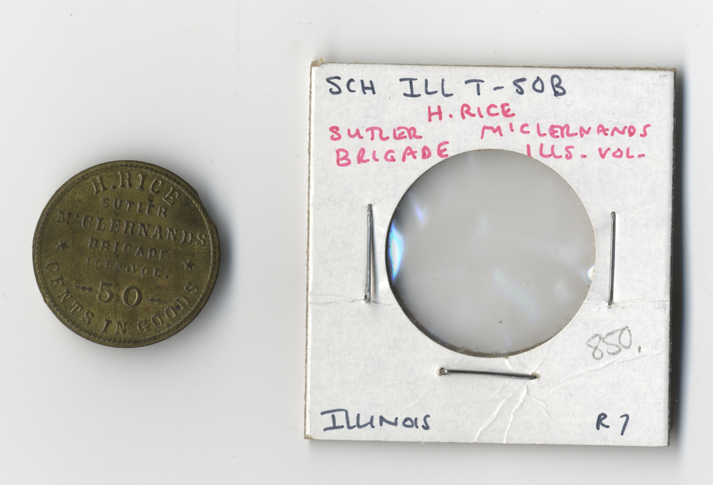 50 Cent Civil War Sutler Token of Jewish Sutler and Abraham Lincoln Friend, Henry Rice