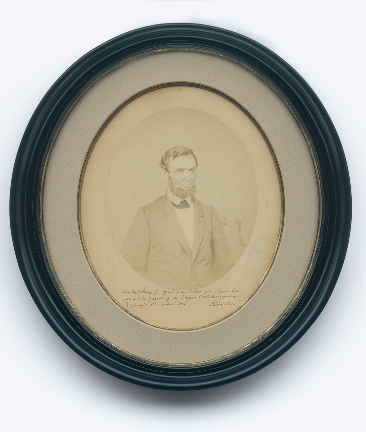 Abraham Lincoln's Inscription on a Photograph to Lucy Speed, Who Had Gifted Him a Bible