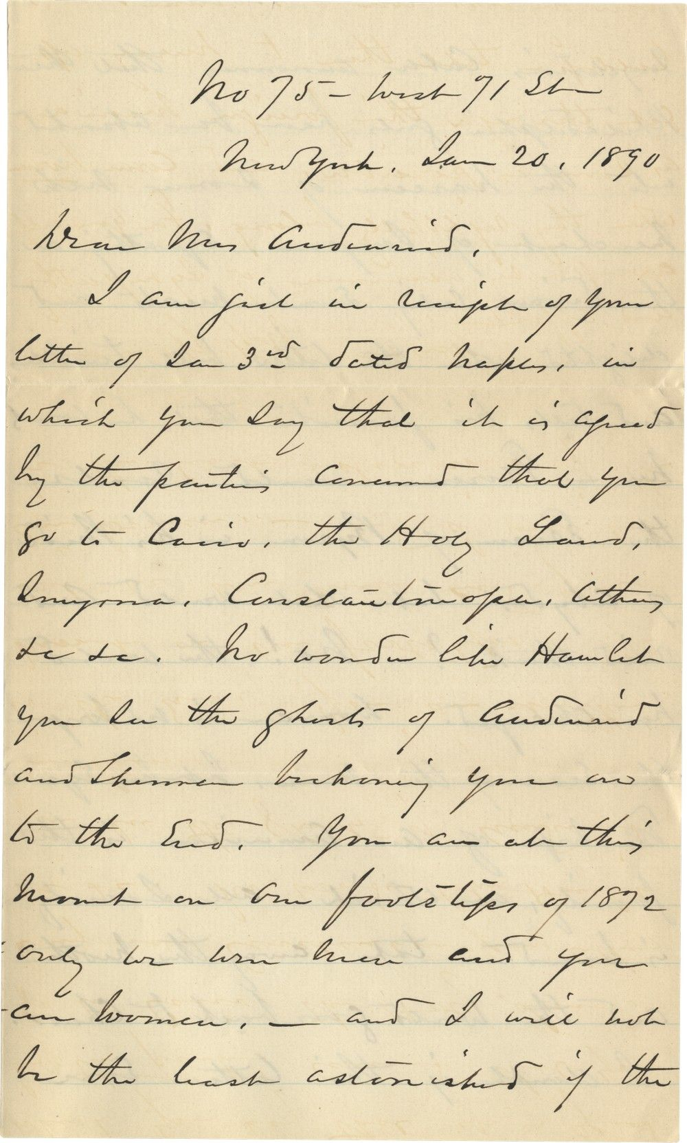 William T. Sherman Recalls His Trip to the Levant, and Teases His Lady Friend About Harem Life