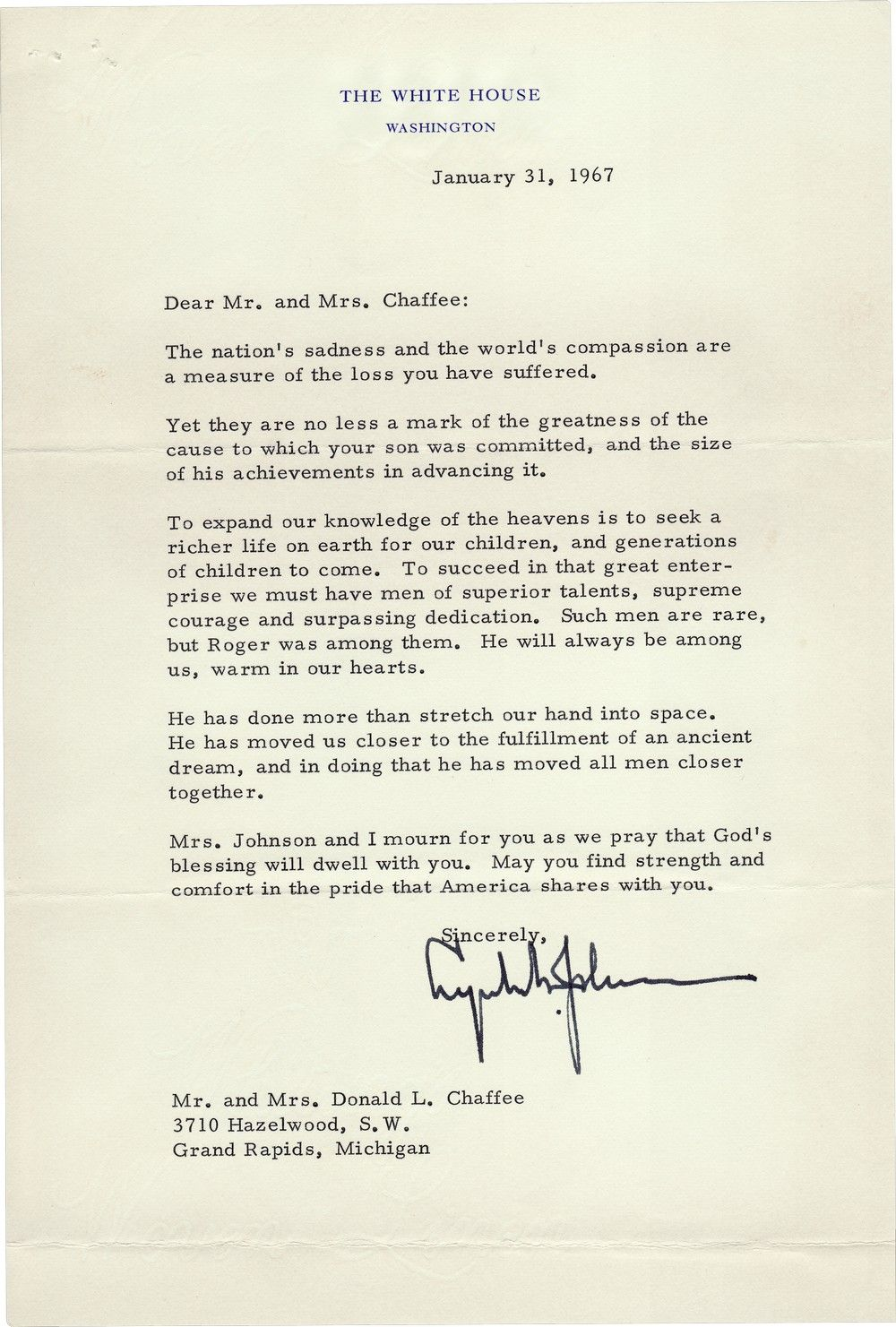Lyndon B. Johnson on the Death of an Astronaut in the Apollo I Fire