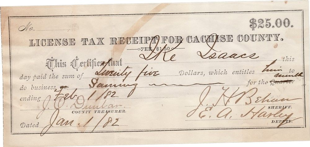 "Western Gambler ""Ike"" Isaacs' Tombstone Gaming License Signed By Sheriff Johnny Behan"