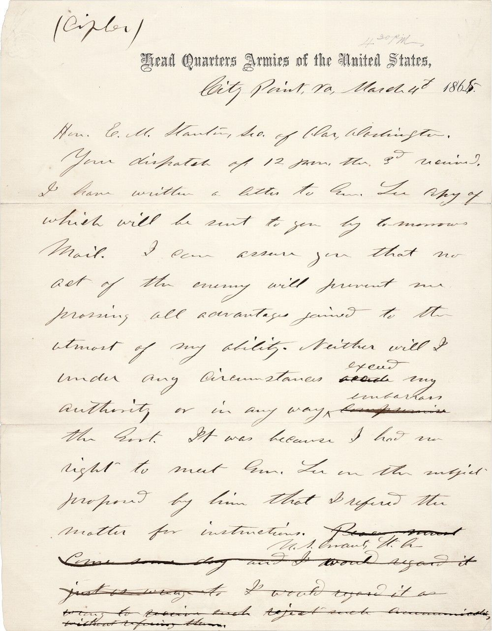 At the behest of President Lincoln, General Grant Decline's Lee's Suggestion of Armistice Negotiations