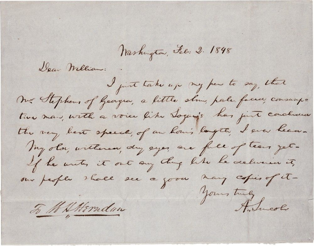 Congressman Lincoln Praises Future Vice President of Confederacy for his Opposition to the Mexican War