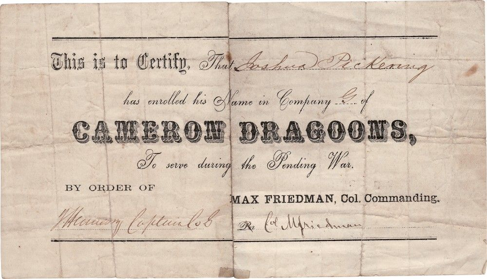 Jewish Colonel Max Friedman Certifies an Enlistment into the Cameron Dragoons