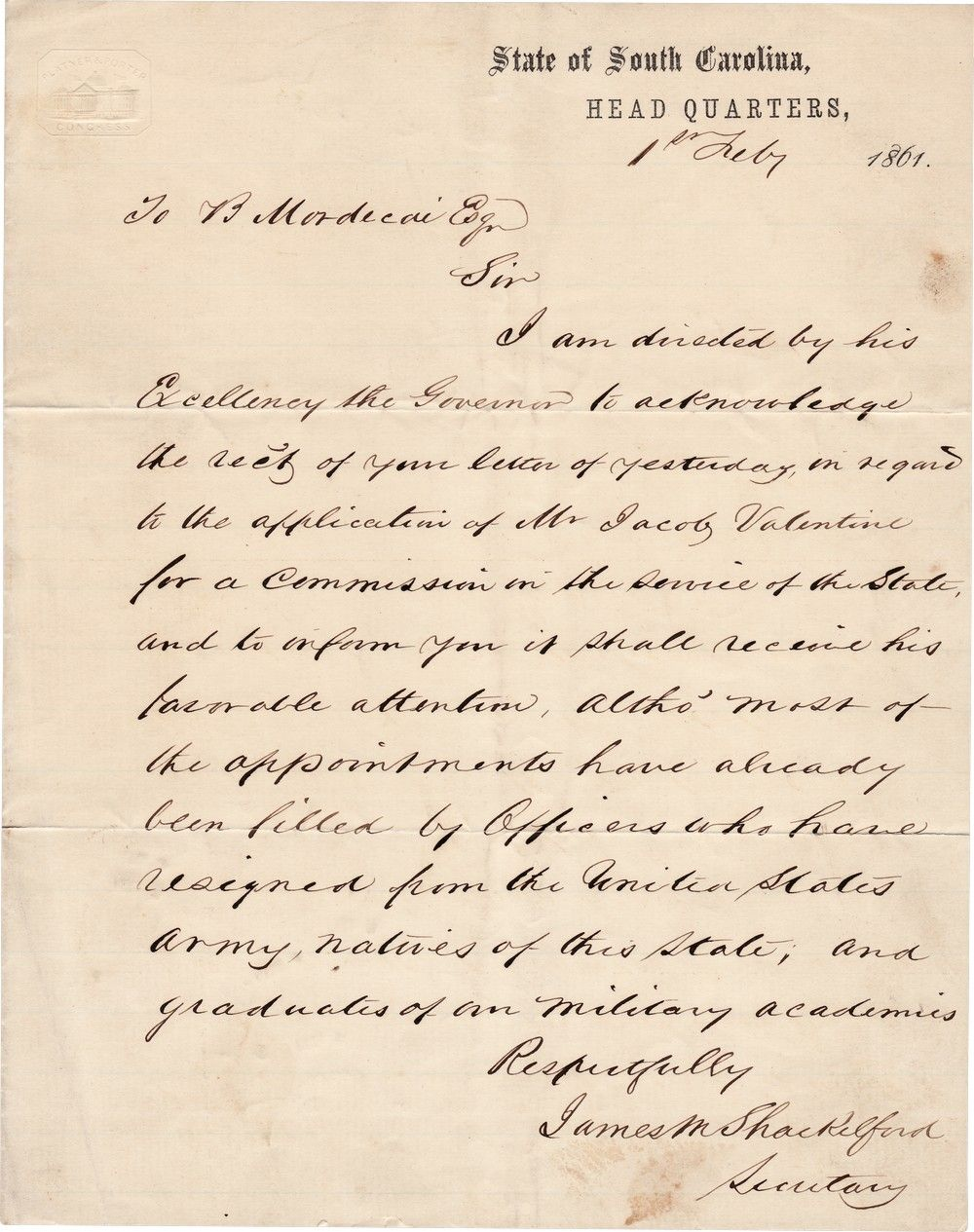 Jewish Confederates: Letter Regarding Benjamin Mordecai's Support of a Commission for Jacob Valentine