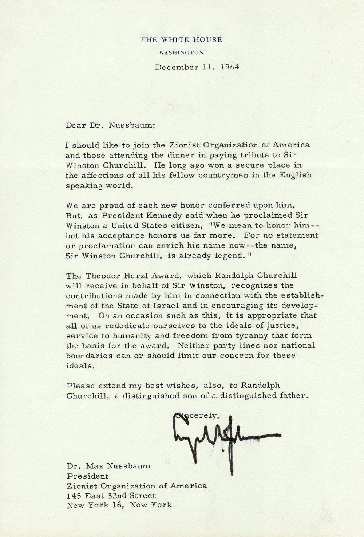 President Lyndon Johnson Salutes Sir Winston Churchill's Commitment to Zionism