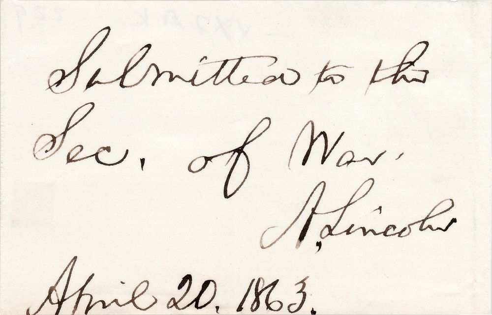 "Lincoln Card: ""Submitted to the Sec. of War"""