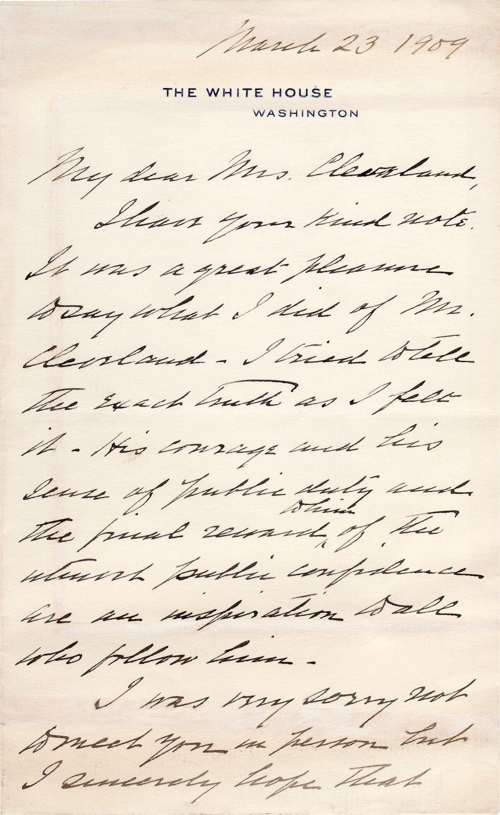 President William Howard Taft Praises President Grover Cleveland To Mrs. Cleveland