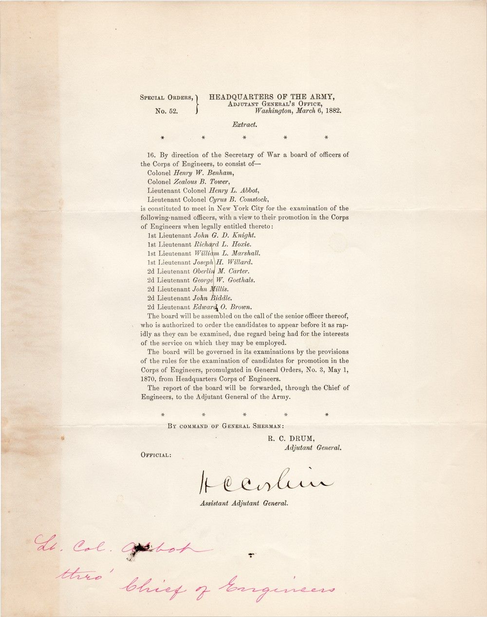H.C. Corbin, Who Established Policy of Religious Furloughs for Jewish Soldiers, Postbellum Army Documents