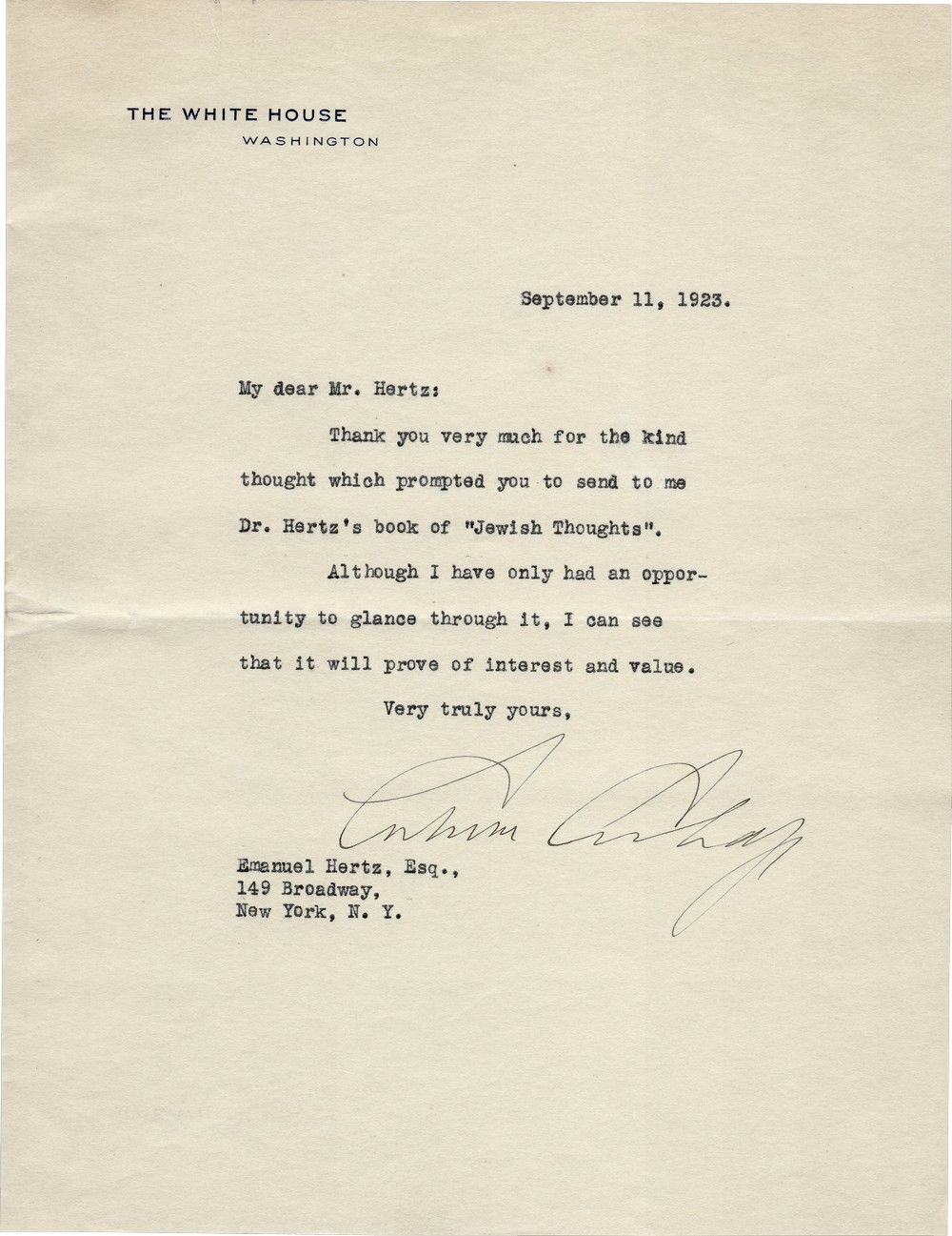 "President Calvin Coolidge Writes to a Jewish American About the Book ""Jewish Thoughts"""