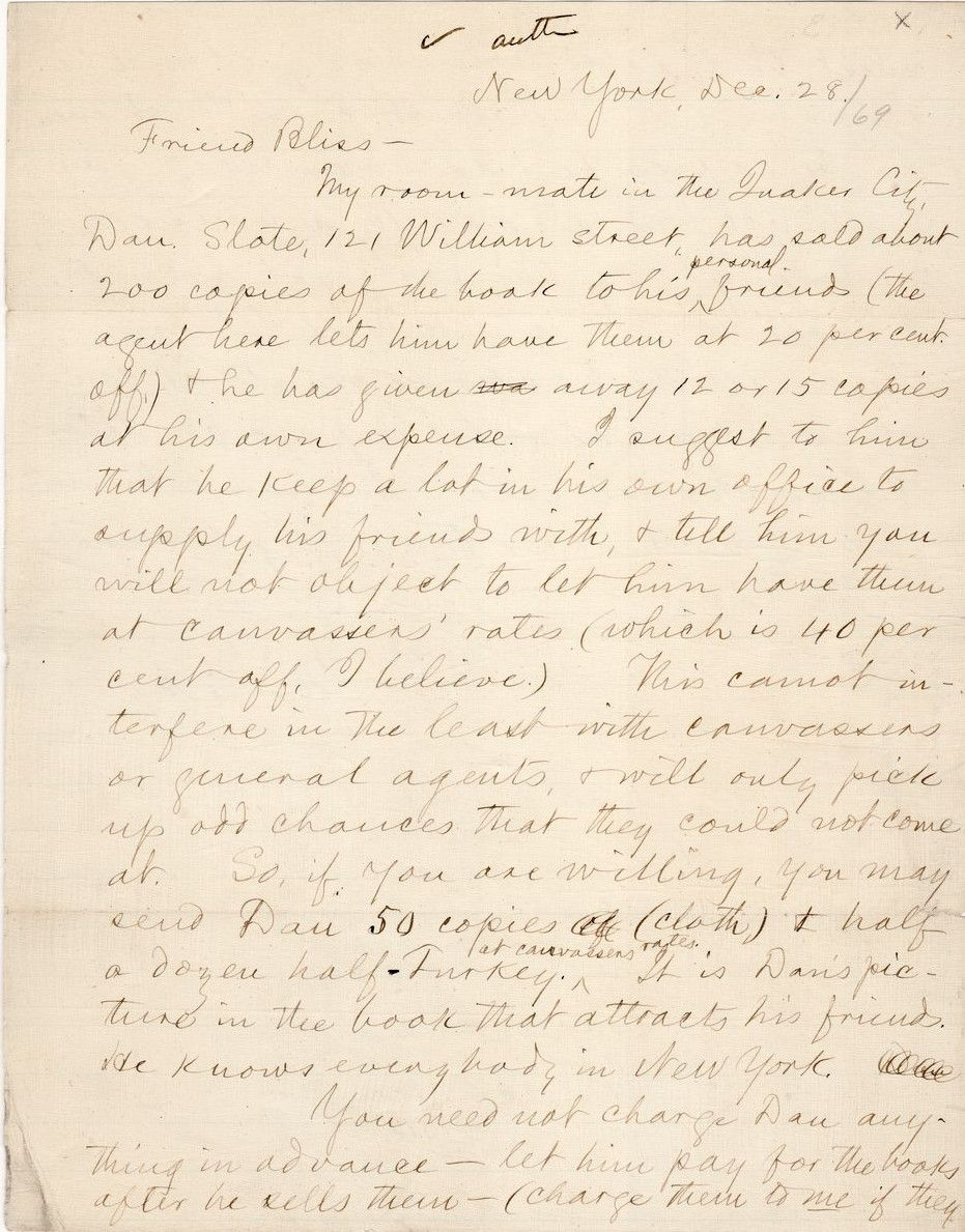 """Mark Twain Promotes his """"Quaker City"""" Roommate to His Publisher as a Promoter of The Innocents Abroad"""