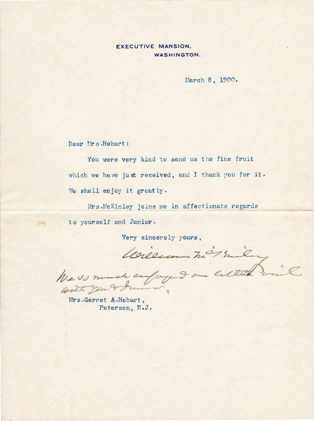 President William McKinley Writes to the Widow of His Vice President and Dear Friend, Mrs. Hobart