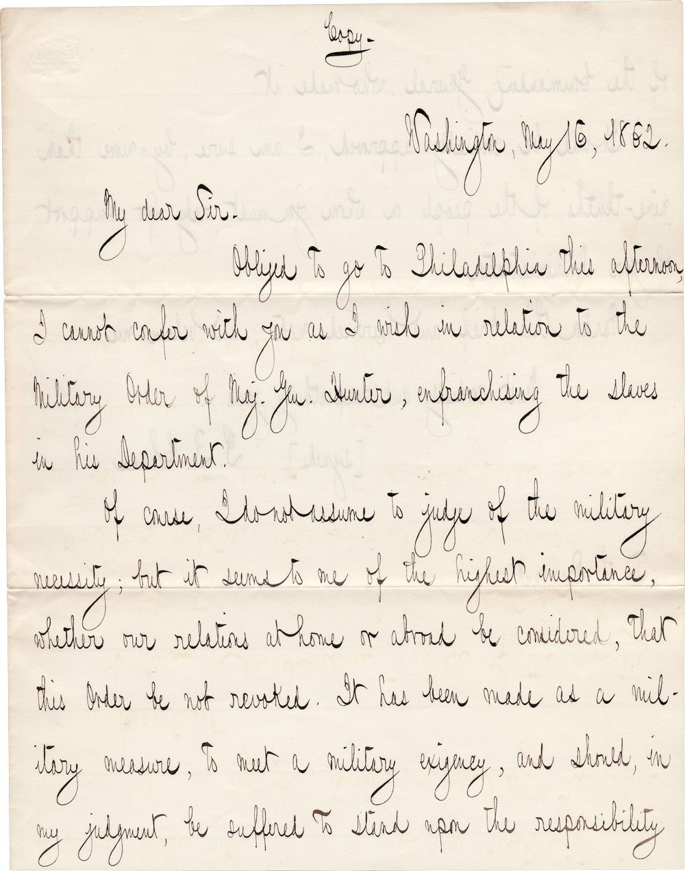 Contemporary Copy of Chase's Letter to Abraham Lincoln in Support of General Hunter's Emancipation Order