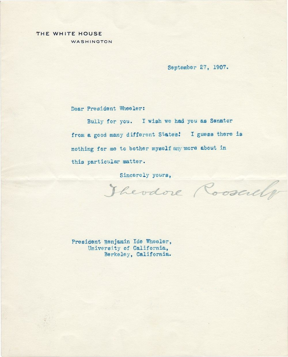 """Theodore Roosevelt Writes """"Bully For You"""""""