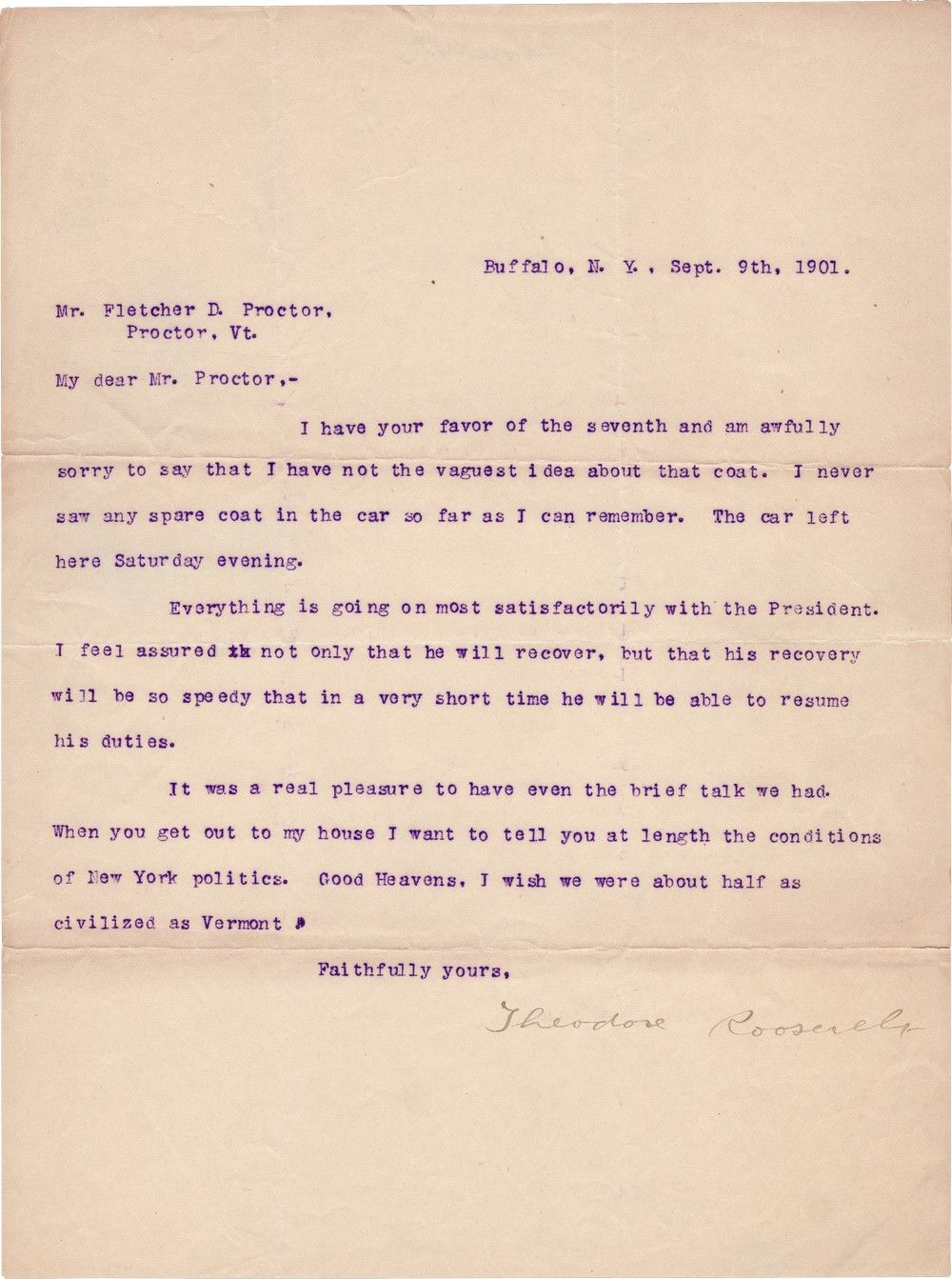 Theodore Roosevelt Confidently Reports that the Mortally Wounded President McKinley is Doing Well