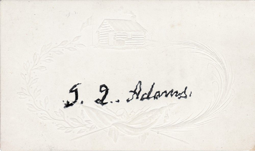John Quincy Adams Signs a Card Depicting William Henry Harrison's (Alleged) Log Cabin Birthplace