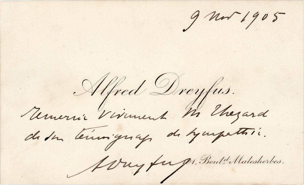 Alfred Dreyfus Thanks Senator Leopold Thezard Who Challenged the Refusal to Allow His Wife to Join Him in Exile