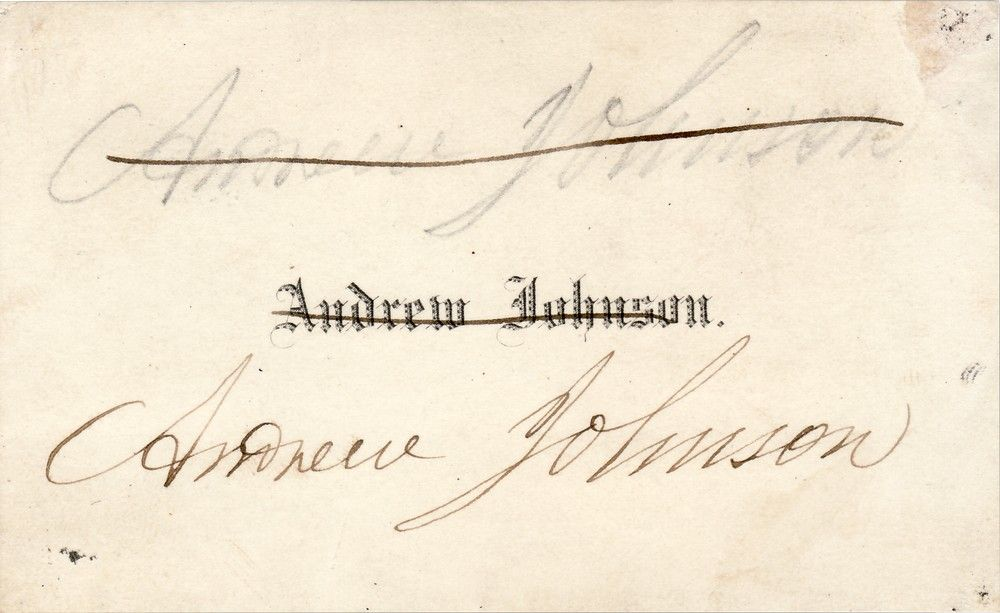 Andrew Johnson Calling Card, Signed Four Times