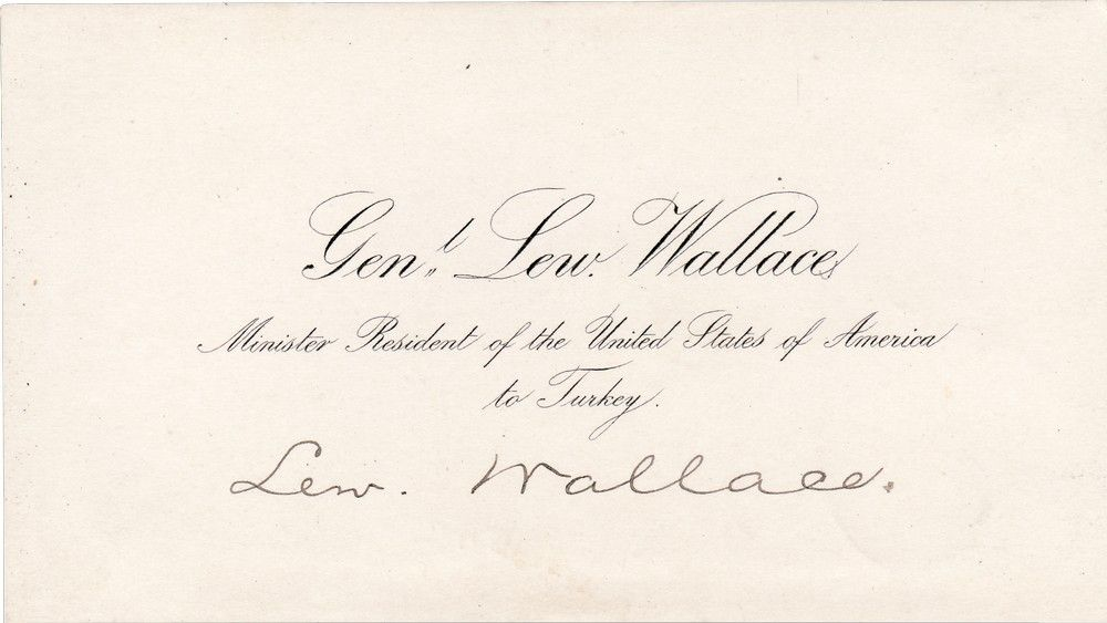"Lew Wallace's Signed ""Minister Resident of the United States of America to Turkey"" Calling Card"