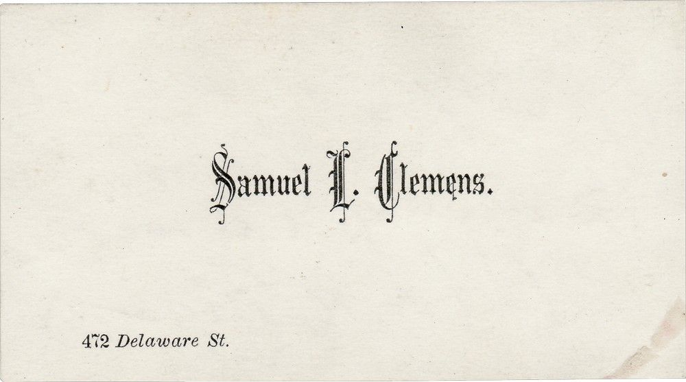 A Calling Card Signed as Samuel L. Clemens and Mark Twain
