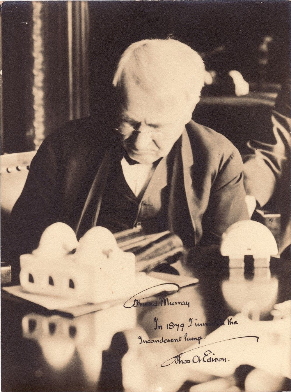 "Thomas Edison Inscribed Photo: ""In 1879 I Invented the Incandescent Lamp"""