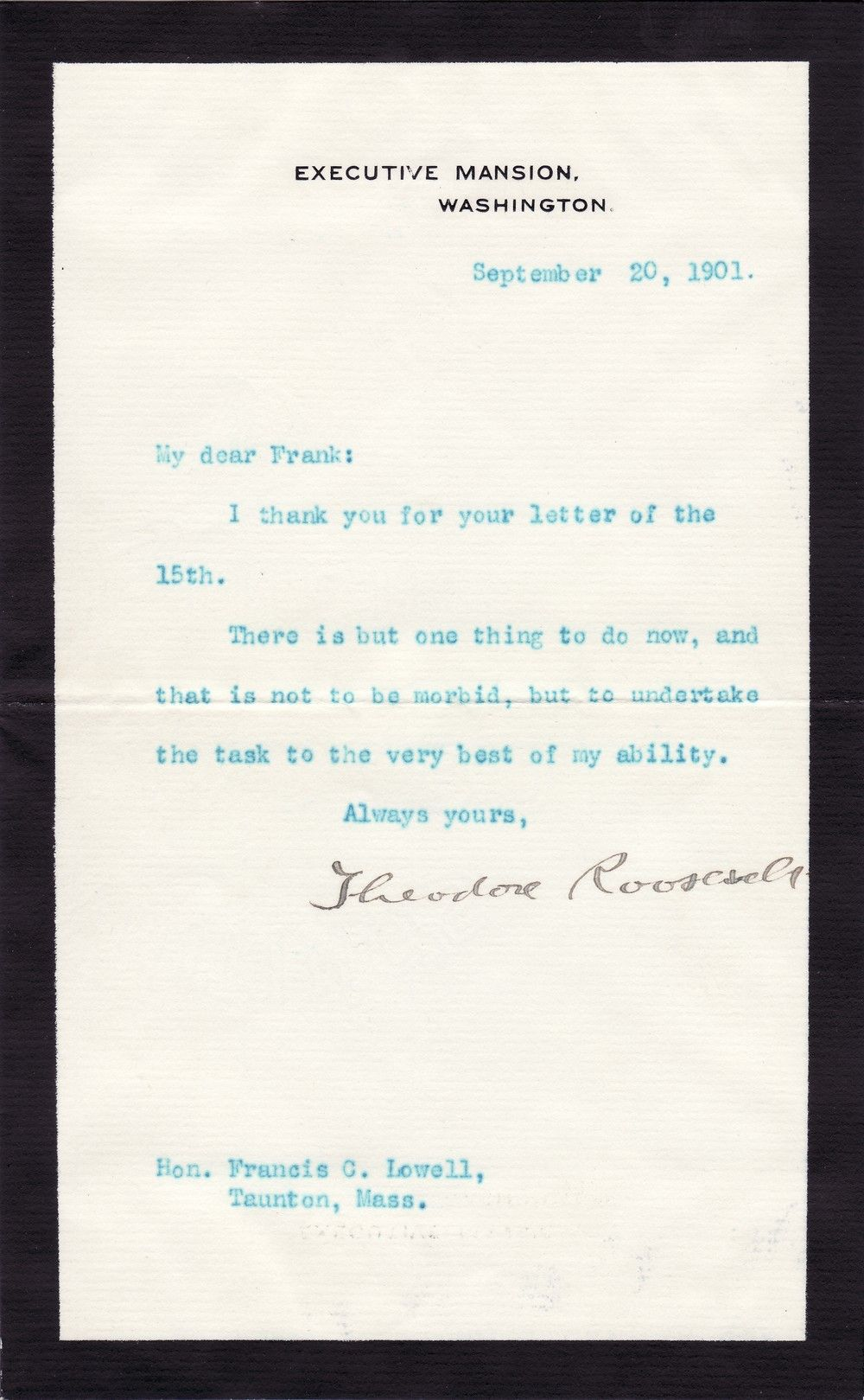 Days After William McKinley's Death, Theodore Roosevelt Swears to Do His Best