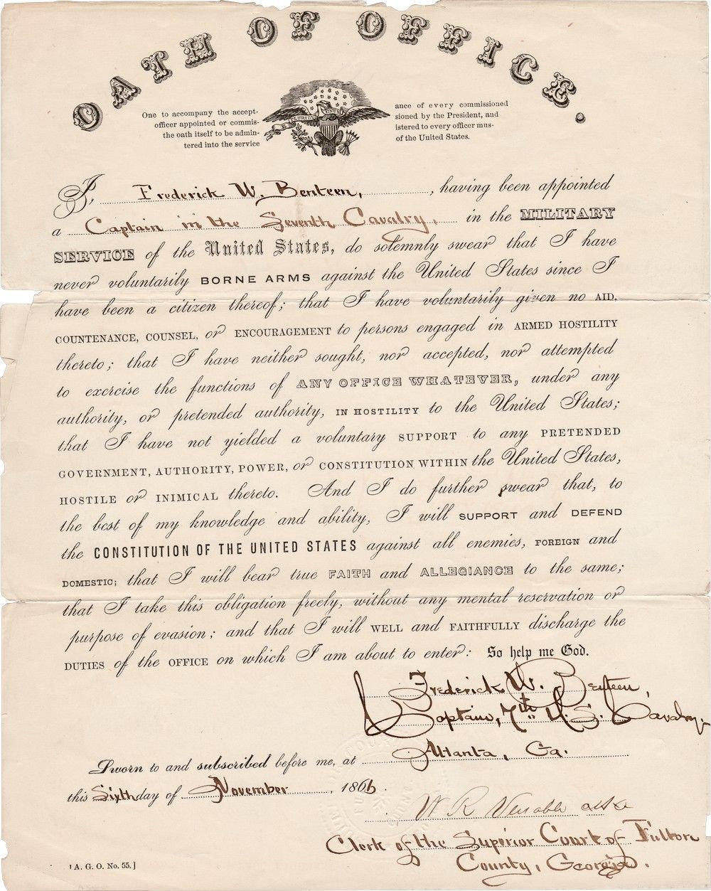 Custer's Aide, Frederick Benteen, Takes the Oath of Office as Captain in the 7th Calvary