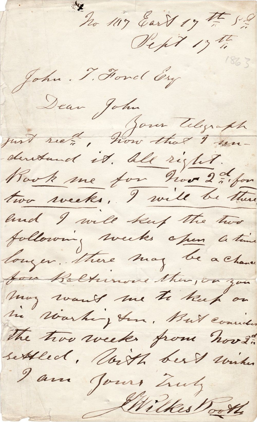 John Wilkes Booth Writes to John Ford to Arrange His Performance in a Play Which Lincoln Was to Attend