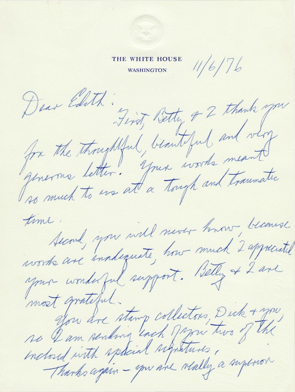"Rare Gerald Ford Presidential Letter Written After His ""Tough and Traumatic"" Defeat By Jimmy Carter"
