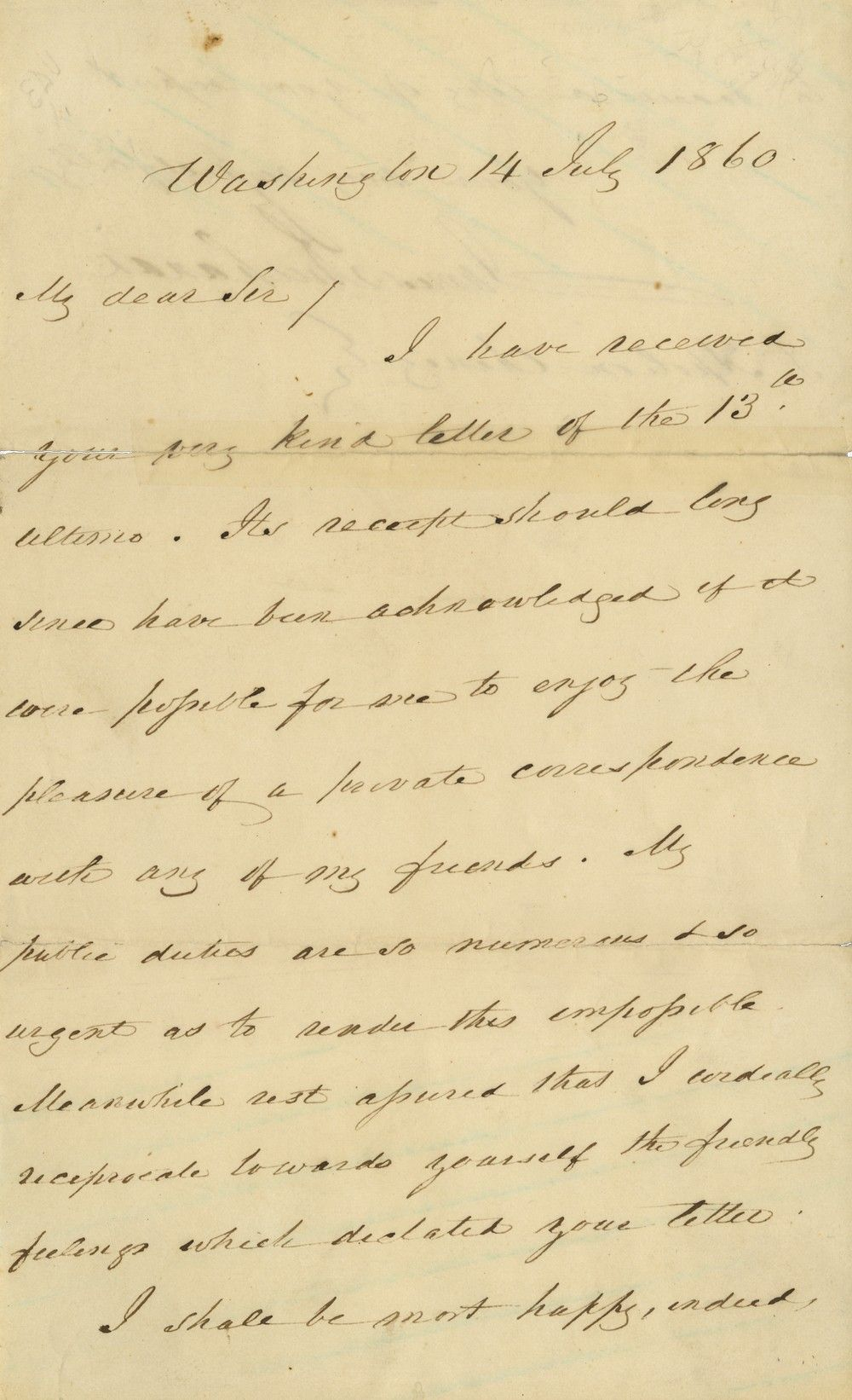 President James Buchanan, Strained in the Summer of 1860, Writes He Hasn't Time for His Friends