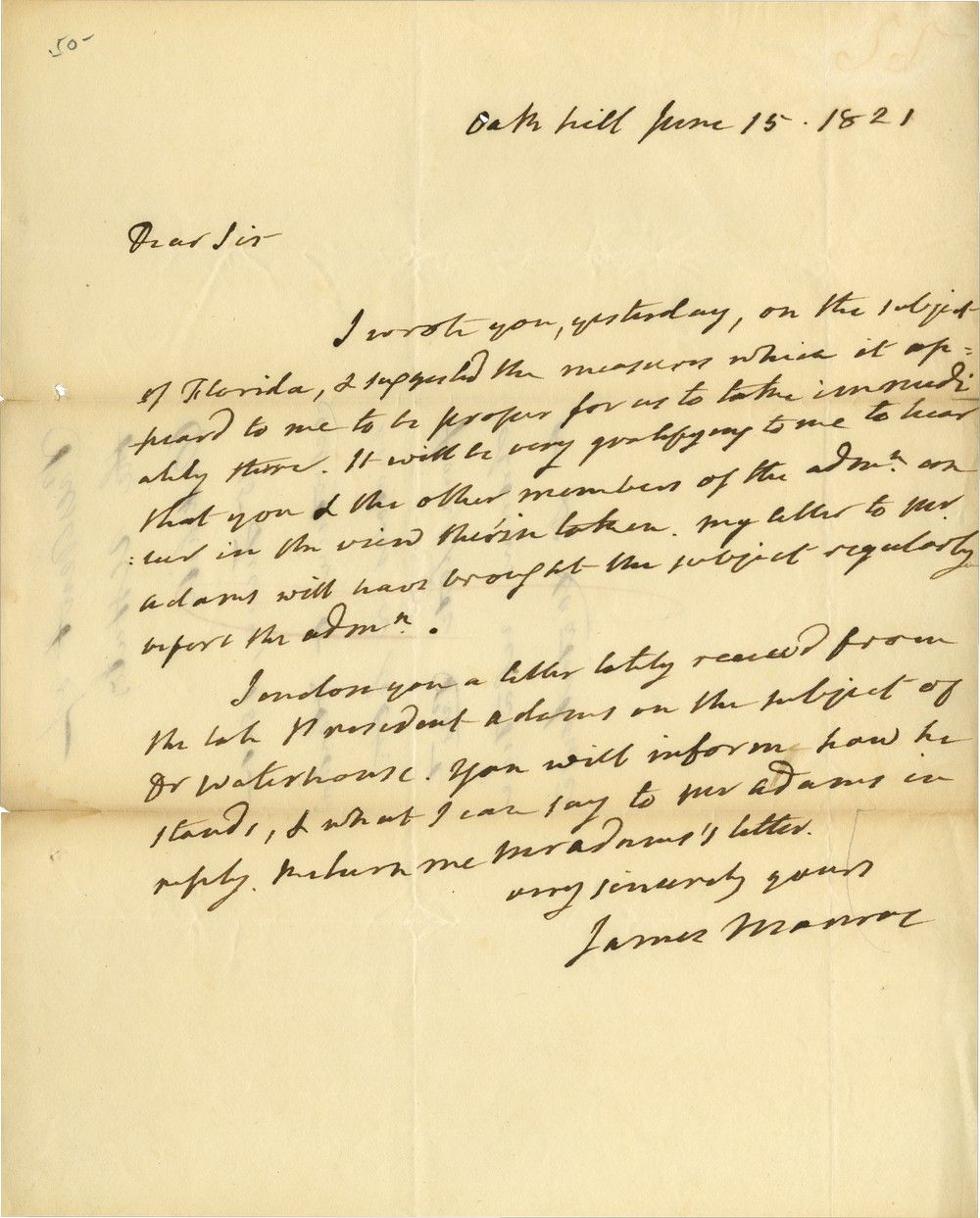 President James Monroe on Purchase of Florida and John Adams's Recommendation of Dr. Benjamin Waterhouse