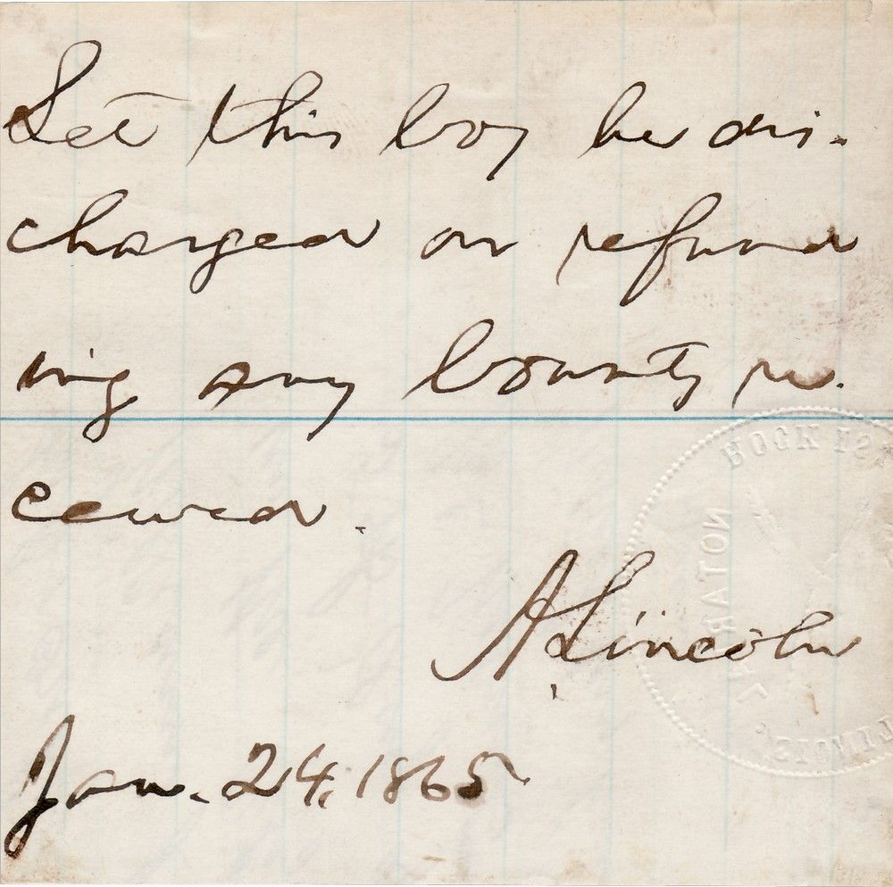 """Abraham Lincoln Exercises Clemency: """"Let This Boy Be Discharged"""""""