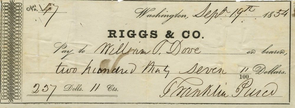 Very Rare Printed Presidential Check Signed by Franklin Pierce: He Purchases Coal for the White House