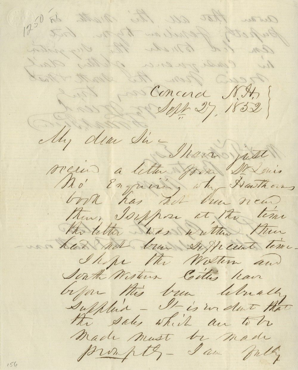 Candidate Franklin Pierce Writes About Nathaniel Hawthorne's Campaign Biography of Him