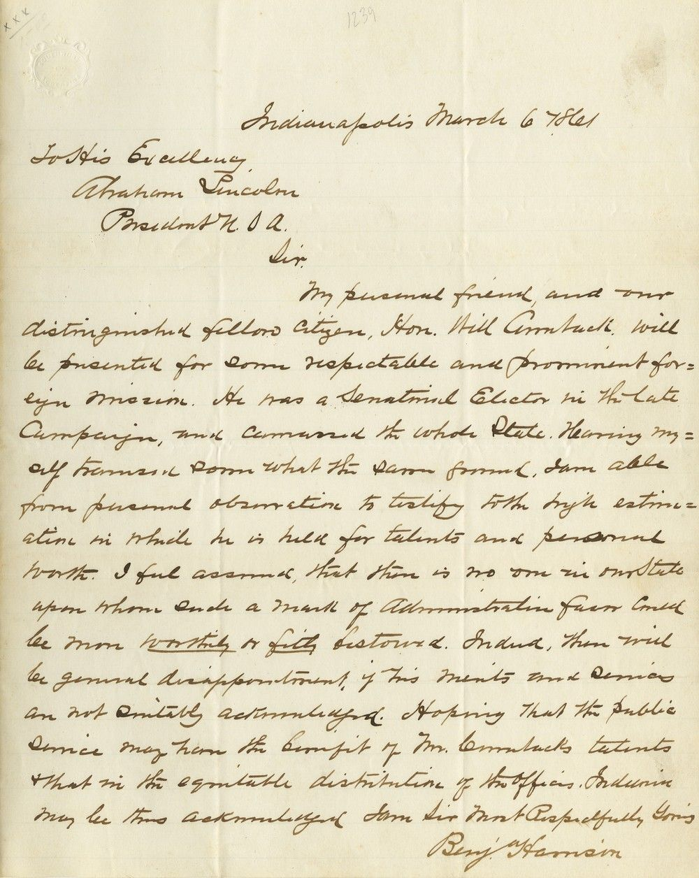 "Young Benjamin Harrison Writes President Lincoln About ""Spoils"" Due Indiana"