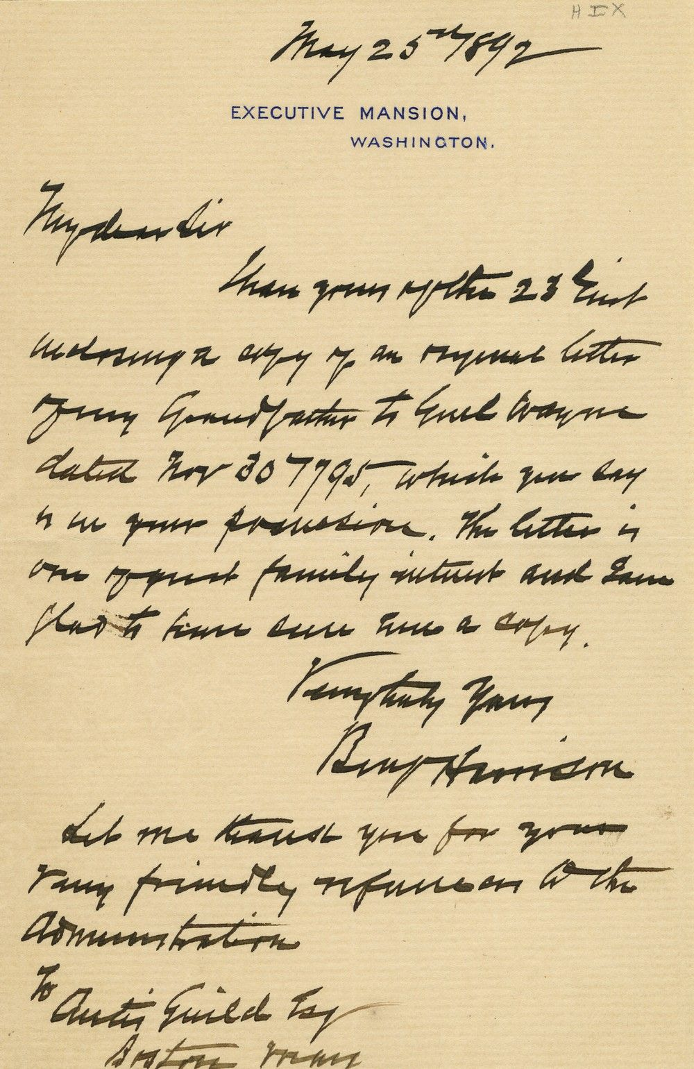 President Benjamin Harrison Discusses a Letter Written by his Grandfather, William Henry Harrison