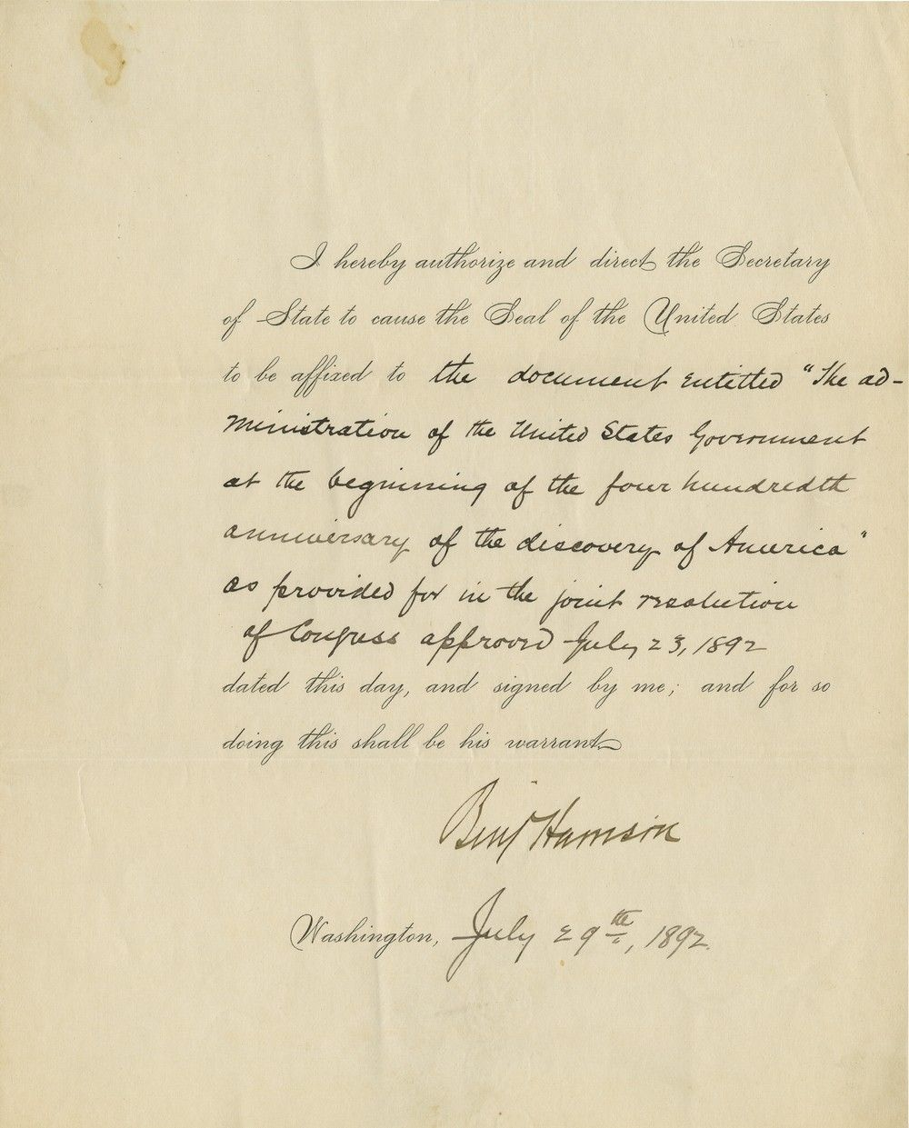 President Benjamin Harrison: Celebrating the 400th Anniversary of the Discovery of America