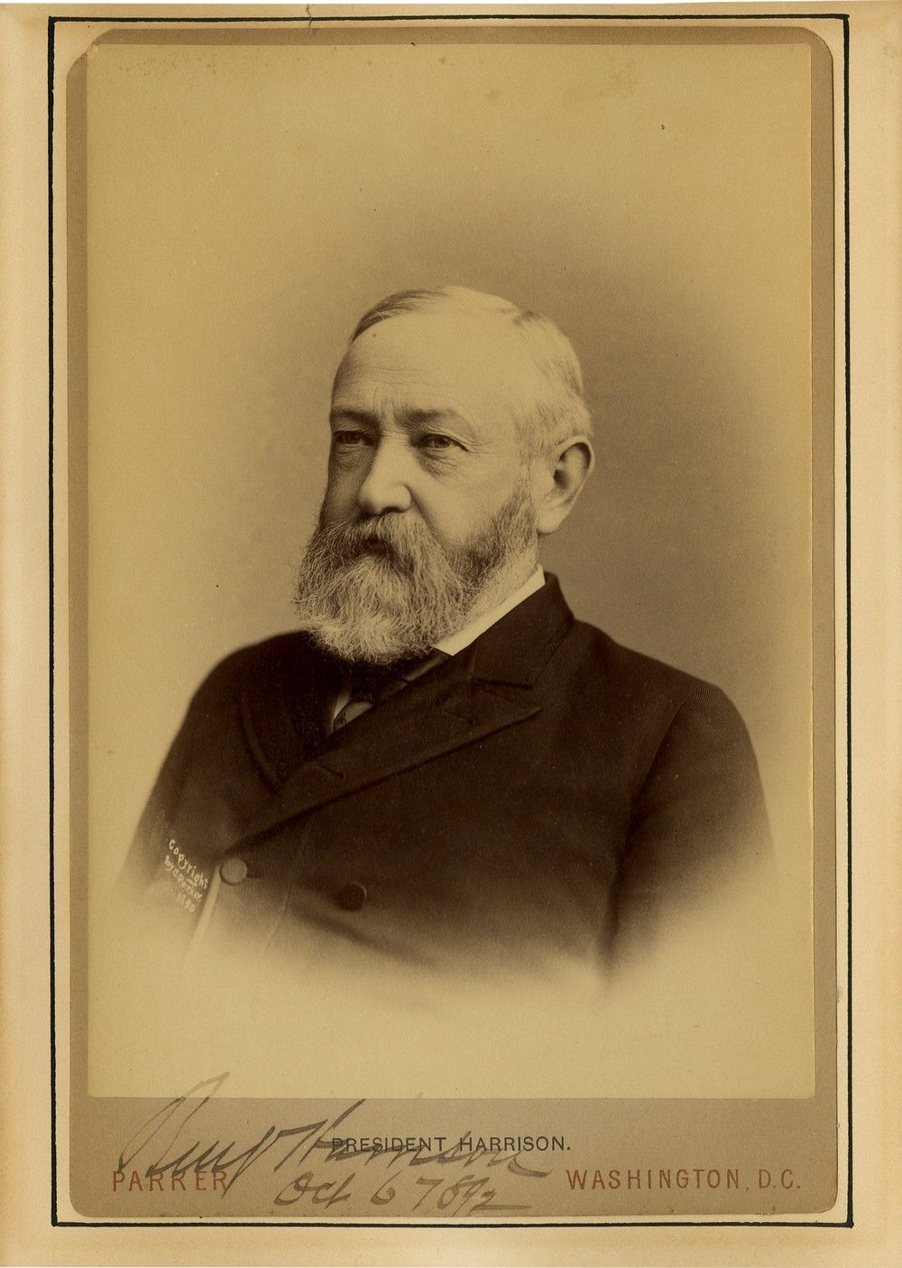 A Scarce Signed Photograph of Benjamin Harrison as President