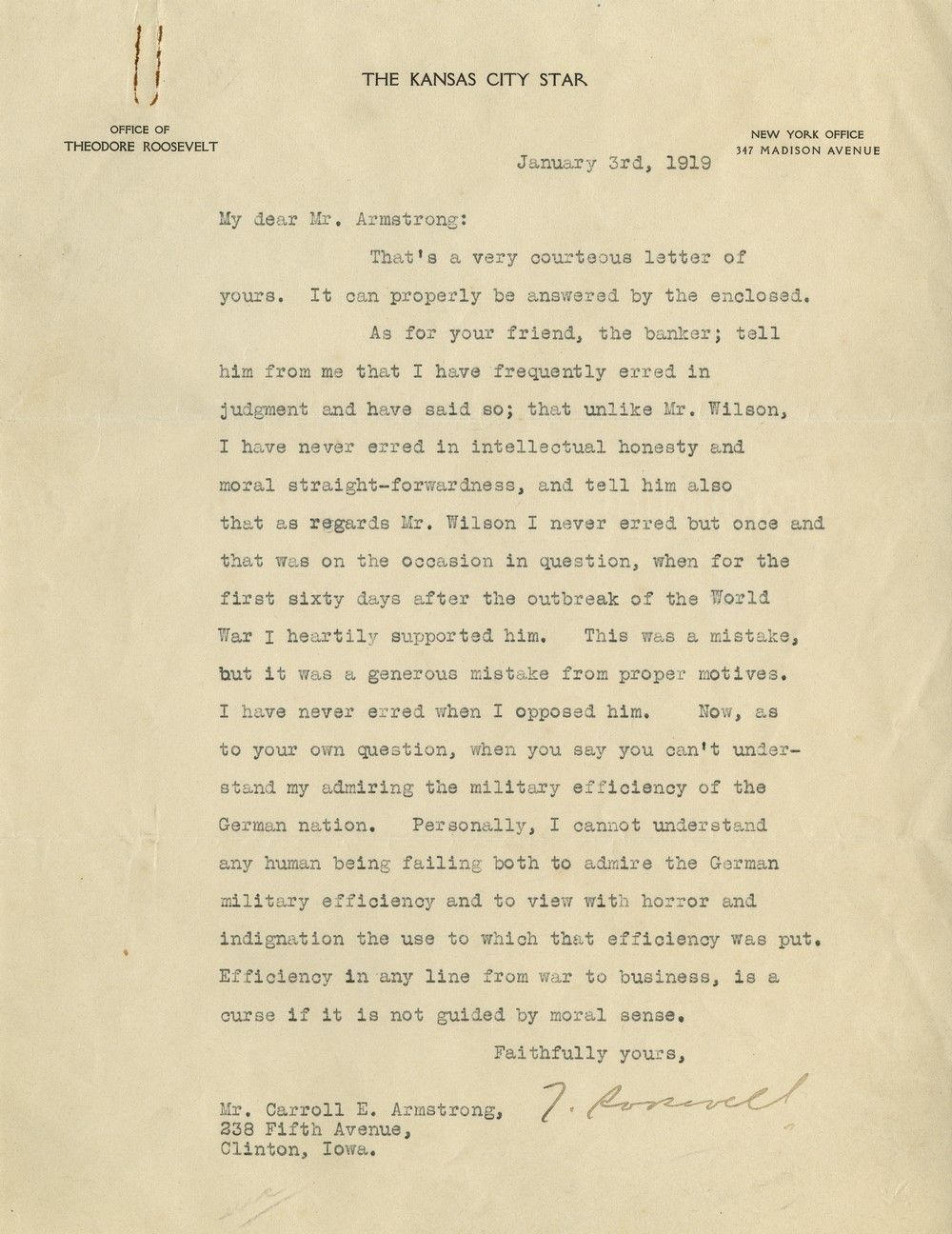 A Final Roar: In One of His Last Letters, Theodore Roosevelt Blasts Woodrow Wilson
