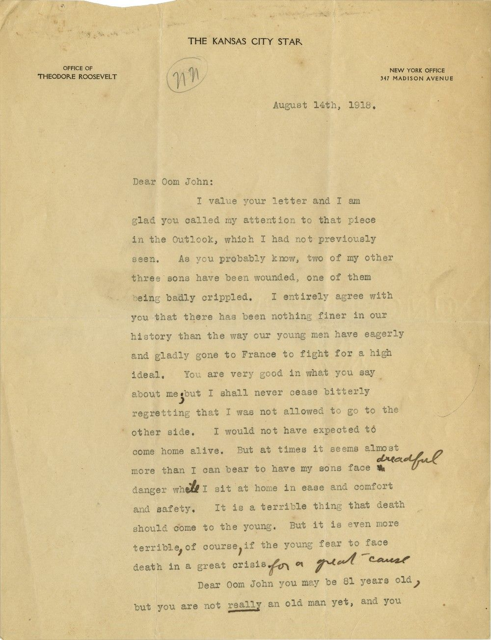 "Theodore Roosevelt Bitterly Regrets Being Forced to Sit Through WWI At Home ""In Comfort and Safety"""