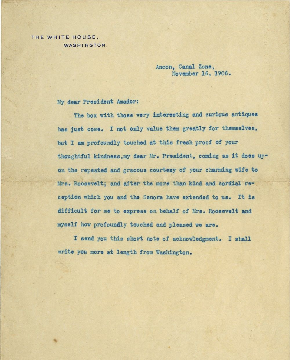"Theodore Roosevelt Writes From ""The Canal Zone"" to Panama's President Amador"