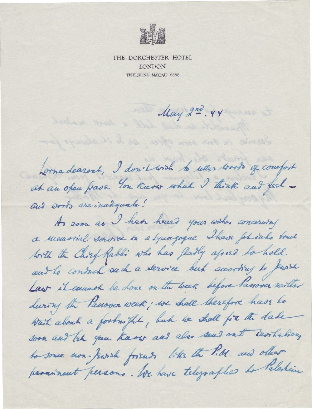 Chaim Weizmann Writes to Orde Wingate's Widow About Wingate's Death and Memorial