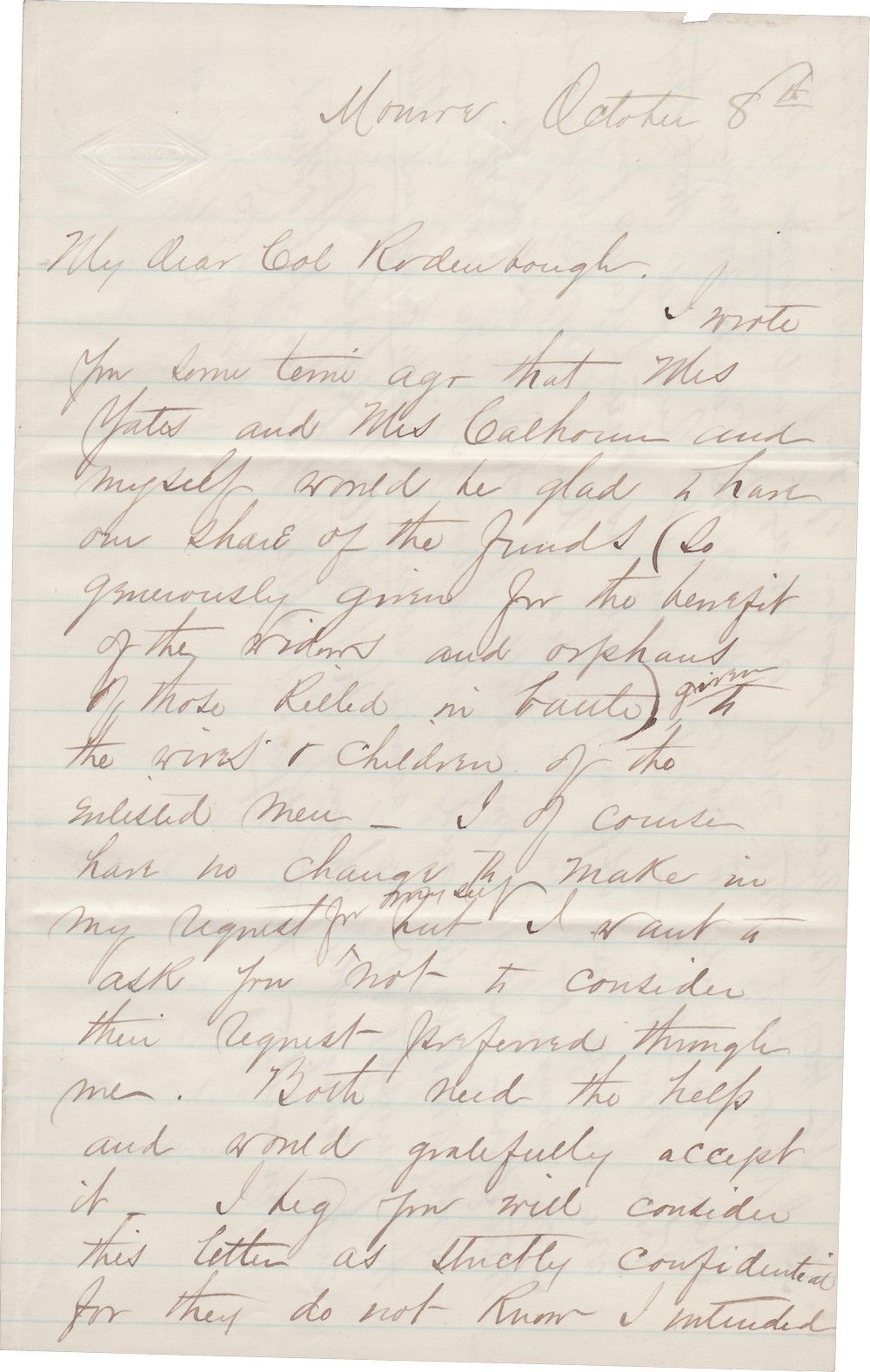 Libbie Custer Makes a Secret Plea to Aid the Widows of Captain Yates, Lt. Calhoun, and Enlisted Men