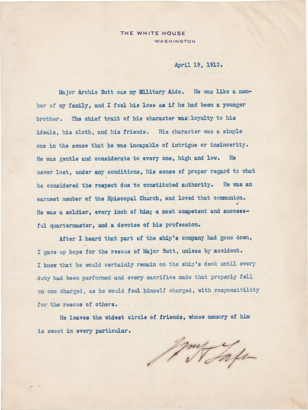 President Taft's Eulogy for his Aide, Archibald Butt, Who Went Down with the Titanic Just Days Before