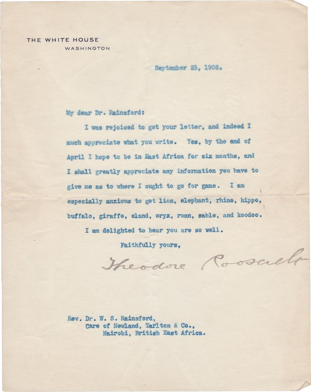 President Theodore Roosevelt Plans for Life After the White House: His African Safari