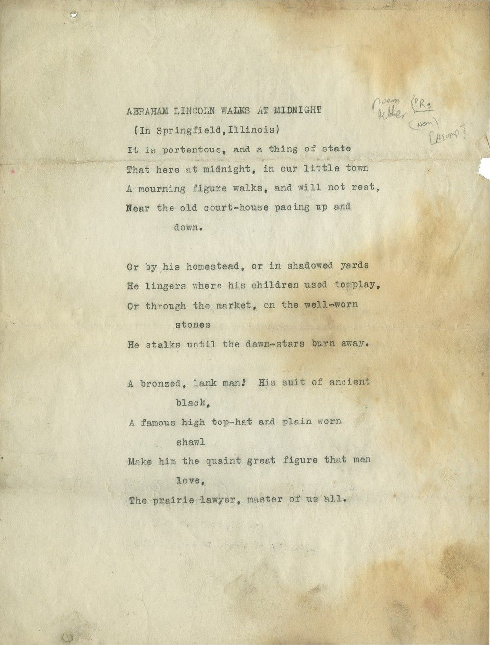 "Manuscript of Vachel Lindsay's ""Abraham Lincoln Walks at Midnight"" - With Early Letter"