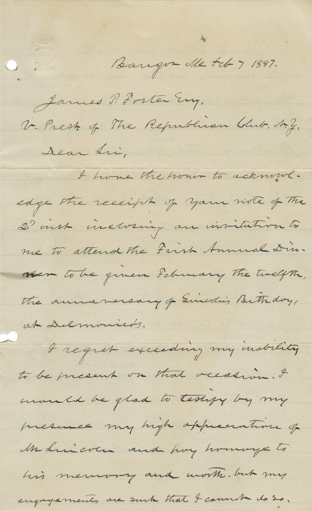 Hannibal Hamlin Calls for Making Abraham Lincoln's Birthday a National Day of Observance